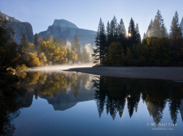Autumn Sunrise, Half Dome and the Merced River, Yosemite National Park, California